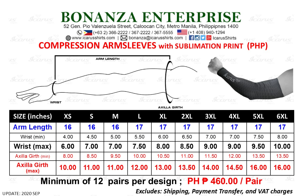 ARMSLEEVES - Sublimation - Size & PHP