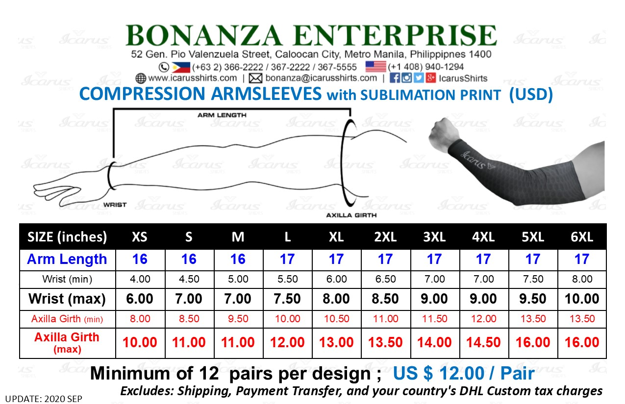 ARMSLEEVES - Sublimation - Size & USD