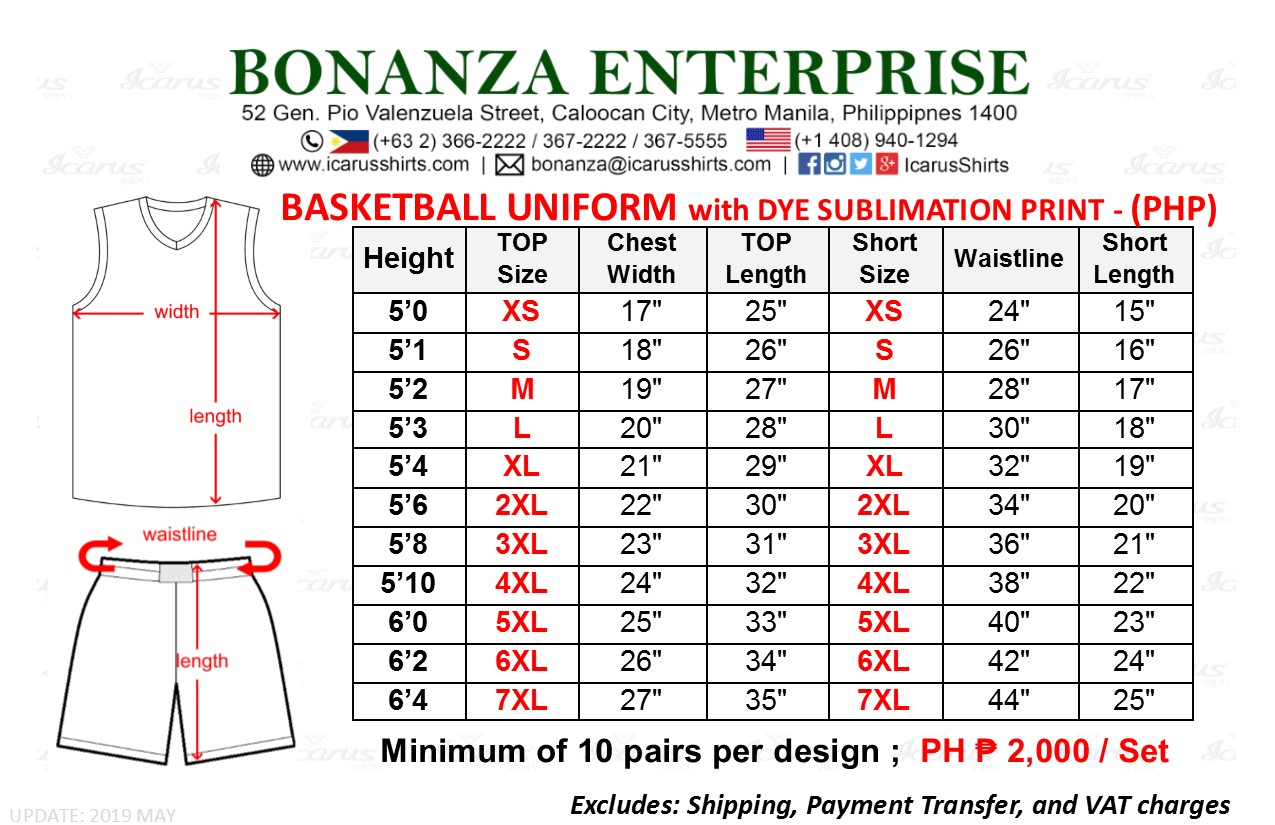 Basketball Jersey - Size & PHP