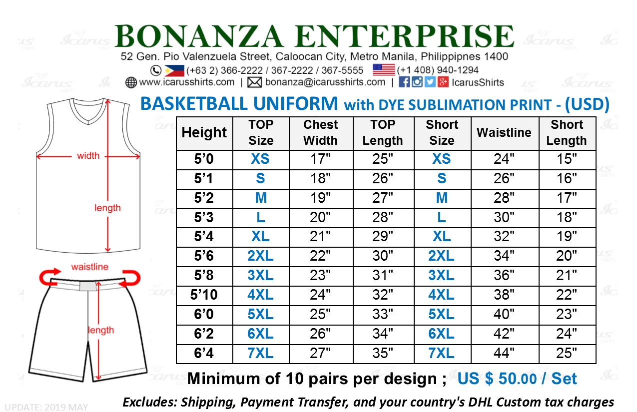 Basketball Jersey - Size & USD