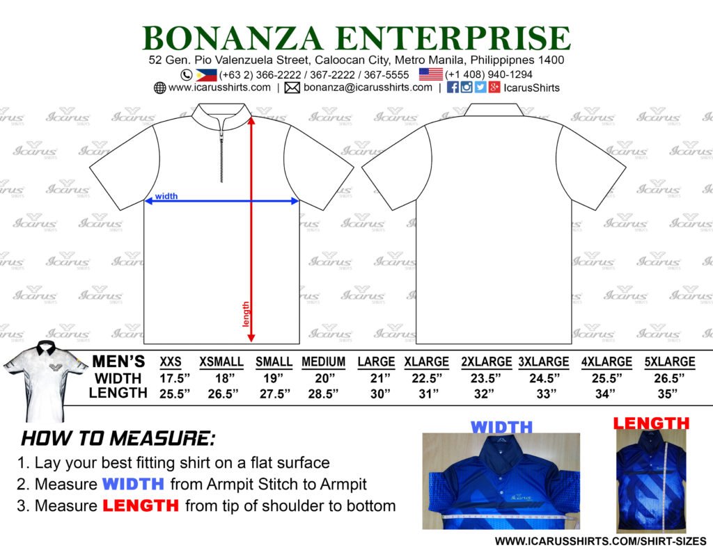 Dry fit Shirt Measurements-MENS